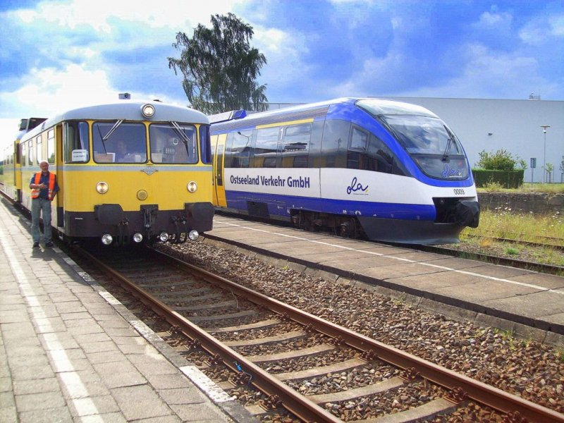 0009 und Messtriebwagen in Torgelow